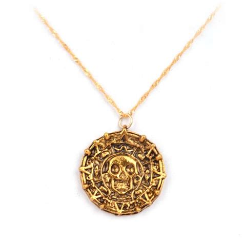 Of The Caribbean Gold Skull Coin Necklace of the caribbean aztec gold coins necklace