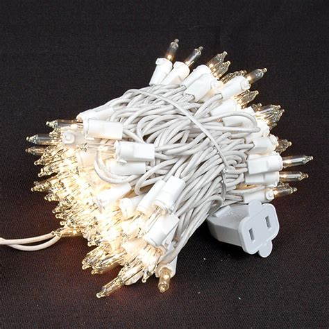 White Wire 100 Light Christmas Mini Lights Novelty White Wire Lights