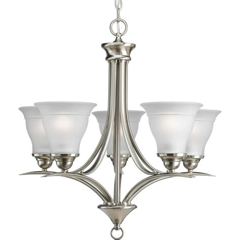 Lighting Fixtures Chandeliers Shop Progress Lighting 23 In 5 Light Brushed Nickel Etched Glass Shaded Chandelier At