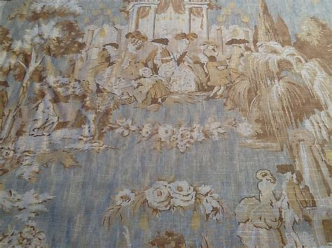 Colonial Upholstery Fabric by Toile Colonial Print Linen Fabric Sky Blue Drapery Fabric