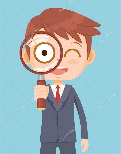 imagenes animadas html hombre trabajador de la oficina mira con lupa ilustraci 243 n