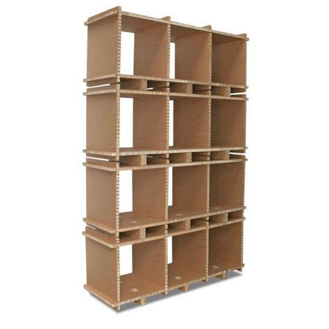 bookcase eco friendly reycled cardboard 3 compartments
