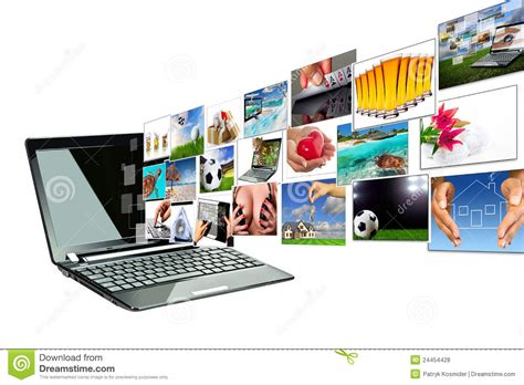 multimedia from the laptop screen royalty free