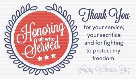 Happy Veterans Day To Army Soldier Free Greeting Card Template by Honoring All Who Served Ecard Free Veterans Day Cards