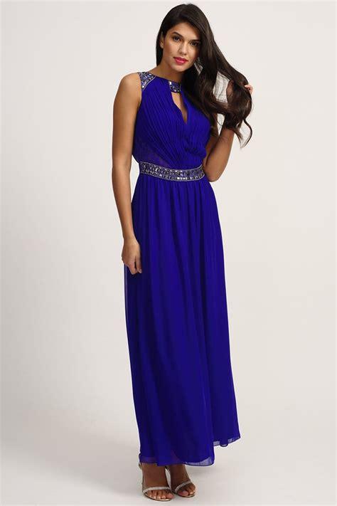 Maxi Blue blue embellished mesh insert maxi dress