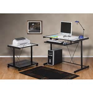 Computer And Printer Desk Computer Desk And Printer Cart Value Bundle Black Metal And Glass Walmart