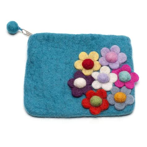 handmade felt flower design purse by felt so