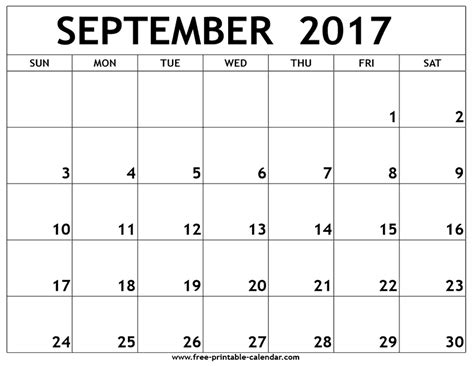 september 2017 calendar printable and template
