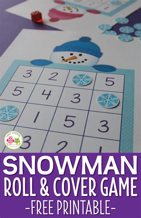 number pattern game ideas snowman game free printable roll cover math game for