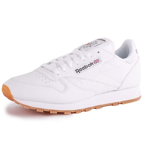 reebok classic leather mens leather white gum trainers new