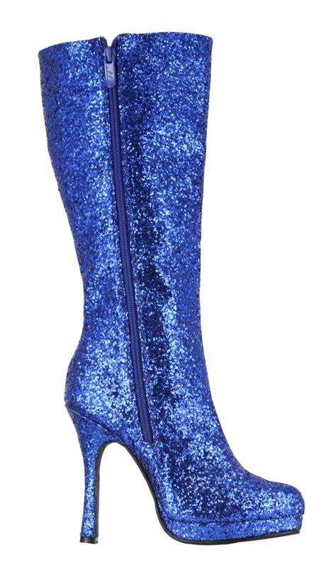 disco glam knee high 4 quot heel blue glitter boots ebay