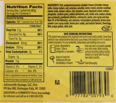 bratwurst nutrition cheddar bratwurst calories