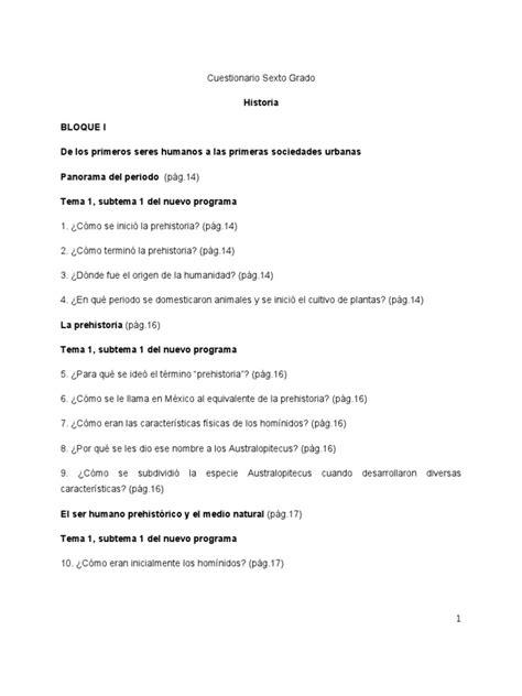 preguntas cerradas de la prehistoria cuestionario de historia 2012 2013 sexto grado