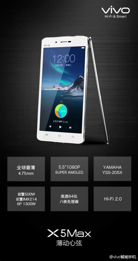Hp Android Vivo X5 Max le vivo x5 max est officiel et il est 233 pais de 4 75 mm frandroid