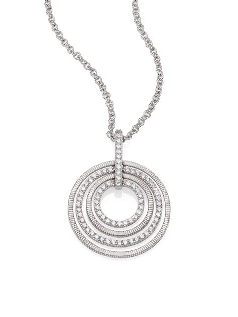 judith ripka white sapphire sterling silver circle pendant