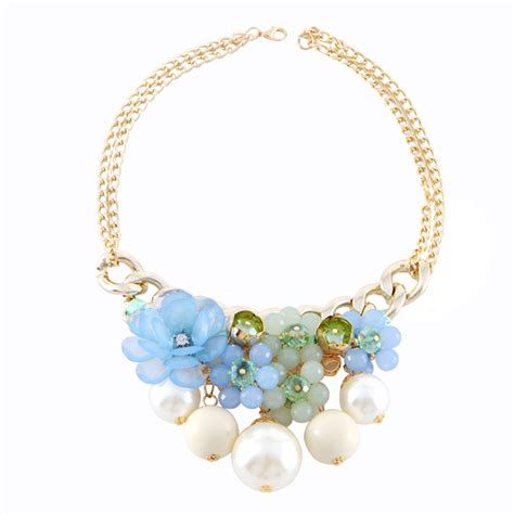 acrylic for jewelry new 2014 jewelry blue acrylic flower necklace pendants