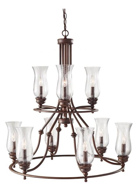Feiss Nine Light Heritage Bronze Clear Seeded Glass Up Seeded Glass Chandeliers