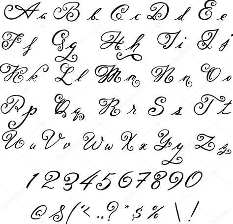 elegante nero font lettere dell annata vettoriali stock