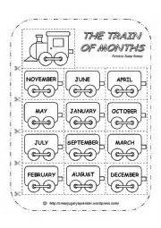 english worksheet the train of months