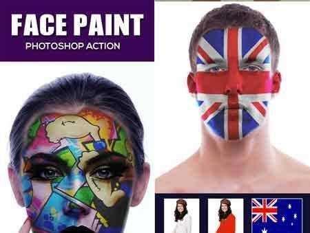 face paint photoshop action  freepsdvn