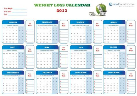 weight loss calendar template pin by gust on healthy you