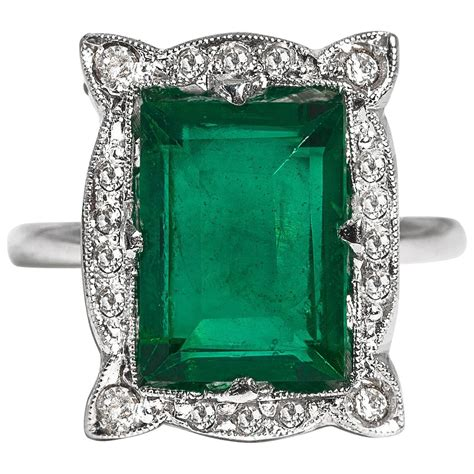 deco faux emerald sterling paste ring for
