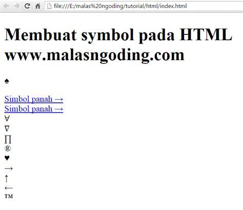 membuat home pada html belajar html part 13 membuat symbol pada html malas