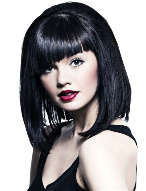 hairstyles with uneven bangs asymmetrical bangs medium length hairstyle ideas pinterest