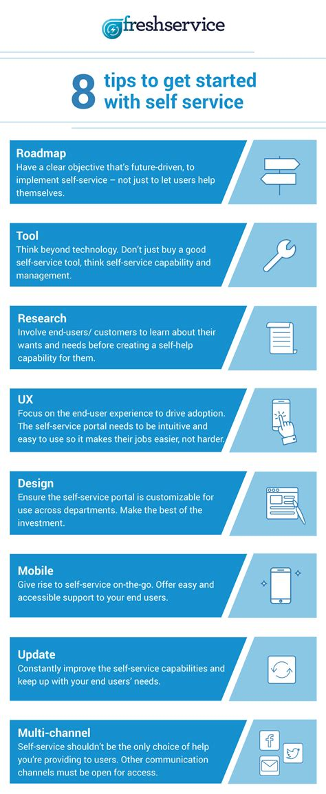 service adoption itsm infographic 8 tips for getting started with self service freshservice thoughts