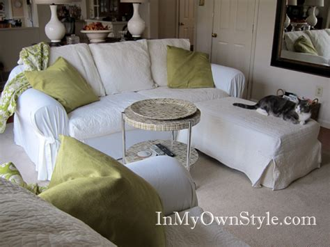 How to cover a chair or sofa with a loose fit slipcover in my own style