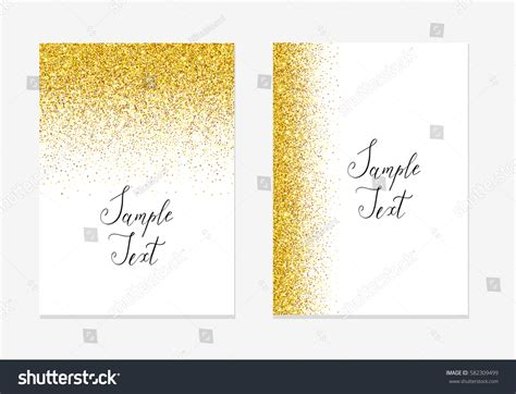 template place cards gold border gold glitter background gold sparkle border stock vector