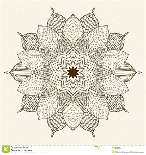 mandala beautiful hand drawn flower royalty free stock