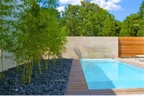 bamboo garden with black basalt gravel next to swimming pool in backyard residence in dallas