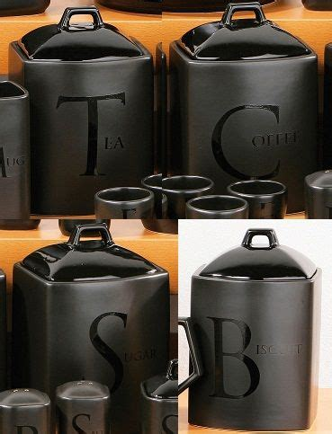 kitchen canisters glass canister sets for coffee bed bath beyond set of 4 black text ceramic tea coffee sugar biscuit