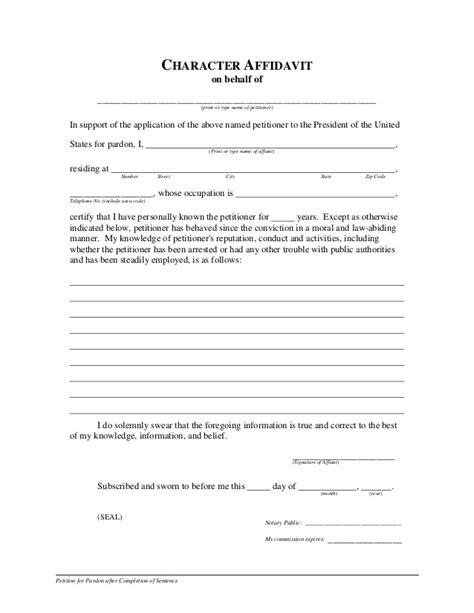 Pardon Form Character Affidavit Template