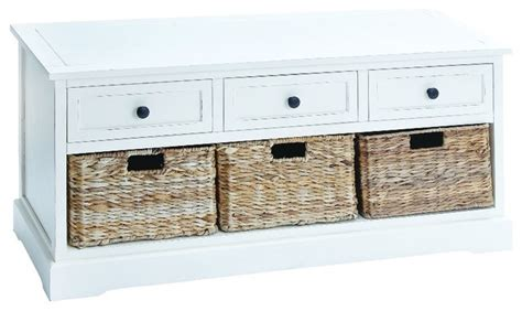 white storage bench with baskets harrison bench with drawers and baskets white farmhouse accent and storage
