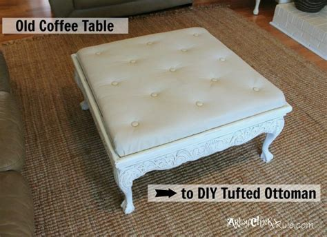 ottoman from coffee table diy thrift store coffee table turned diy tufted ottoman