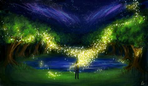 art night tree man lights sparks fireflies lake grass hd