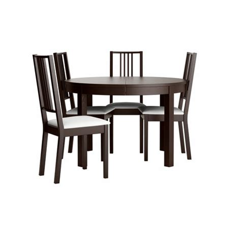 bjursta b 214 rje table and 4 chairs brown black gobo white