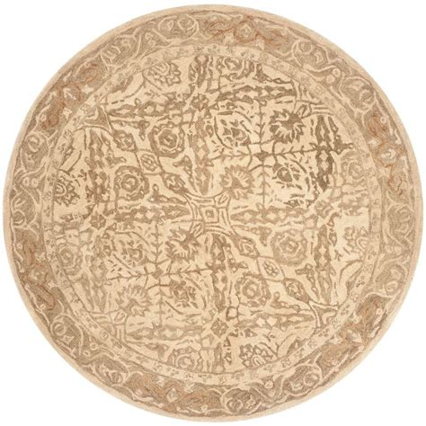 Safavieh Anatolia Ivory Grey 6 Ft X 6 Ft Round Area Rug 6 Foot Area Rugs