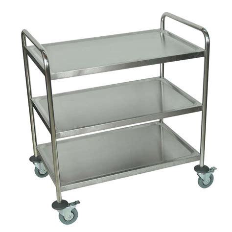 Cart Shelf by Luxor 3 Shelf Stainless Steel Utility Cart Silver St 3