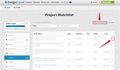 designcrowd questions how do i remove projects from my watchlist designcrowd