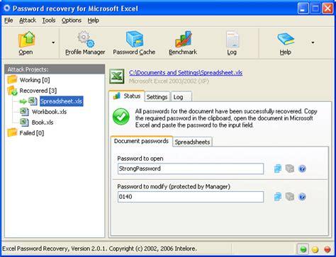 Excel Password Recovery. Password cracker for Microsoft Excel. Free Excel Worksheet Password Cracker