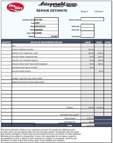 estimate template pdf 12 free sle home repair estimate templates printable