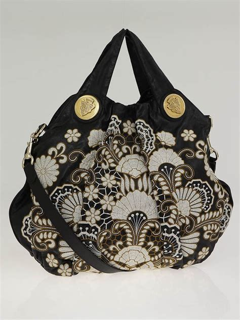 Gucci Hysteria Large Top Handle Bag by Gucci Black Leather Floral Embroidered Hysteria Large Top