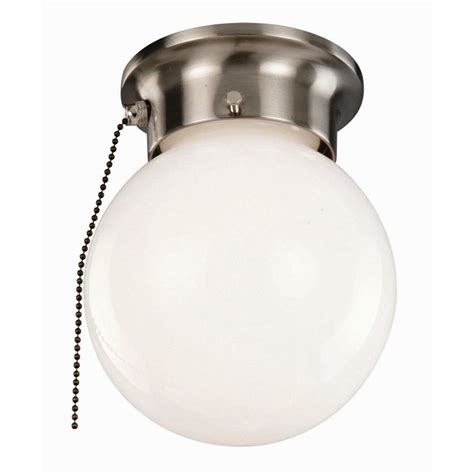 Design House 1 Light Satin Nickel Ceiling Light With Opal Pull Lights Kitchen