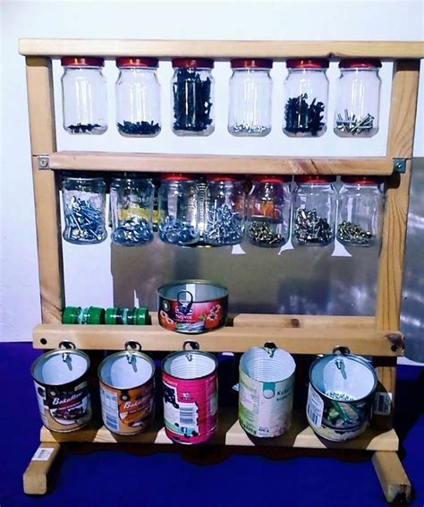 organizer  screws  jars  metal cans