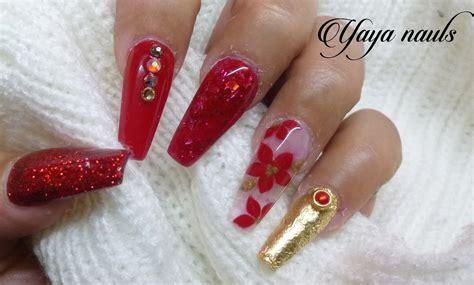 fotos de uñas de acrilico rojas dise 241 o de u 241 as acrilicas rojo y dorado navide 241 o