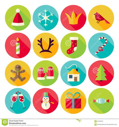 new year icon set new year and merry circle icons set with