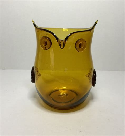 Owl Vase by Vintage Glass Owl Vase